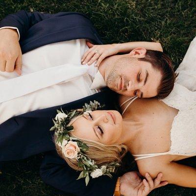 Sammy & Jace backyard wedding Clovis CA grass