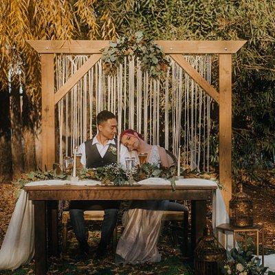 moody bohemian winter styled shoot Sanger CA bridal table